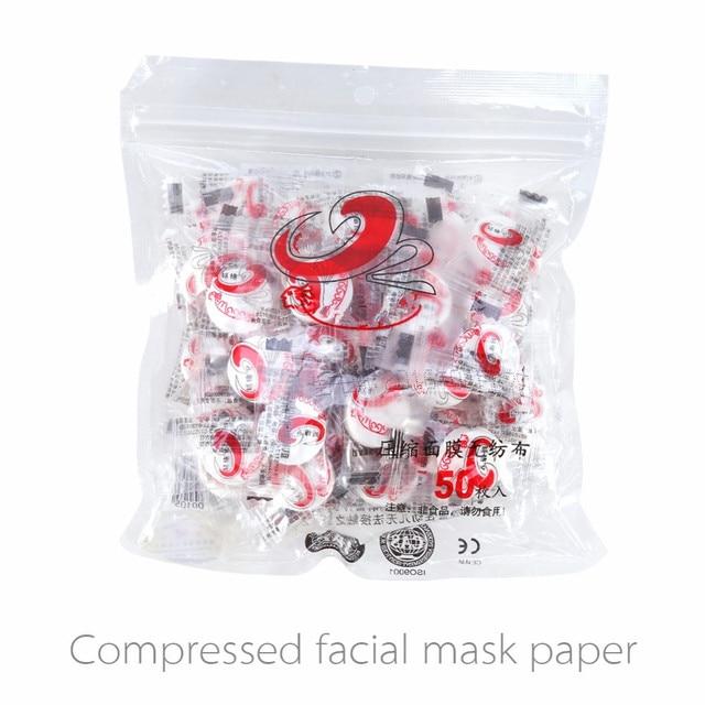 50 Pz/pacco Pelle Cura DIY del Fronte Facciale di Carta Compressa Masque Maschera Non Tessuto Moneta Maschera di Carta Compressa Maschera Facciale Fatta In Casa Tablet