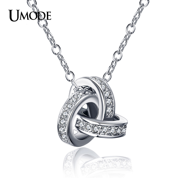UMODE White Gold Color Cubic Zirconia CZ Accent Inspired