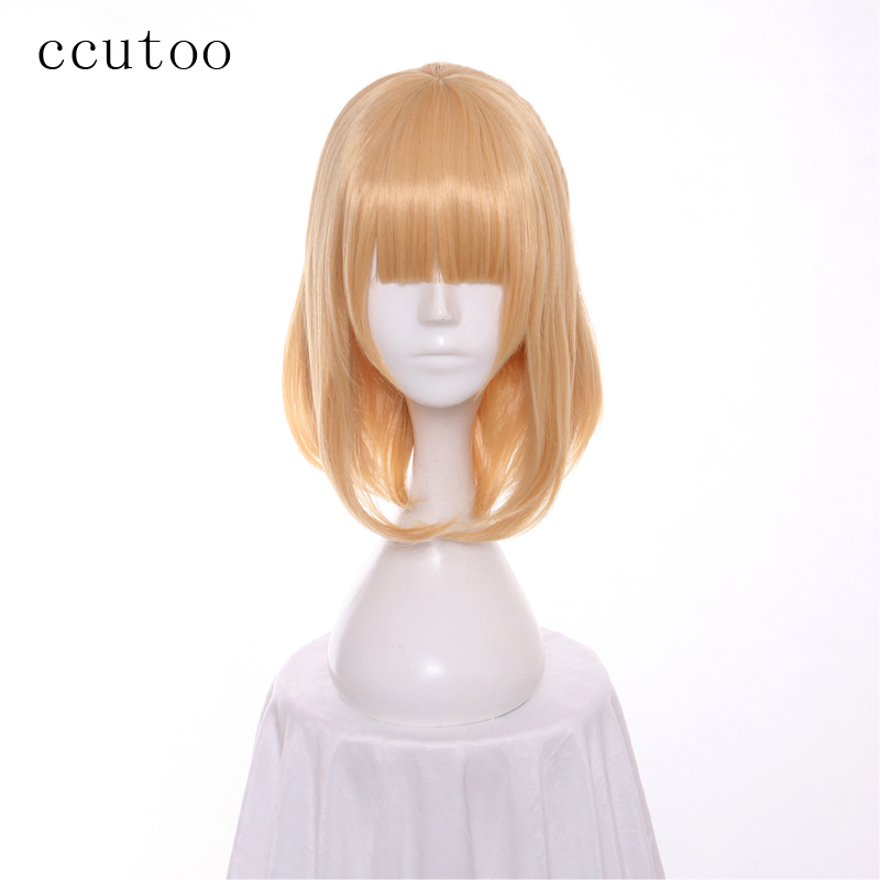 ccutoo 14inch Golden Synthetic Wig Women Flat Bangs Hairstyle Bobo Cosplay Wig For Party Costume Wigs