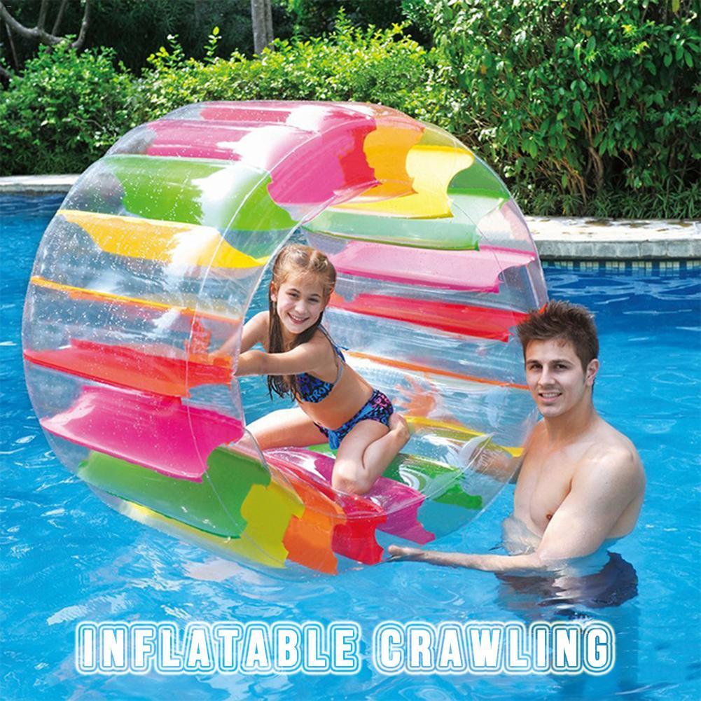 Enfants gonflable coloré roue d'eau flotteur 36 pouces géant rouleau enfants balle pour garçons et filles piscine jouets herbe jouet roue eau jouet