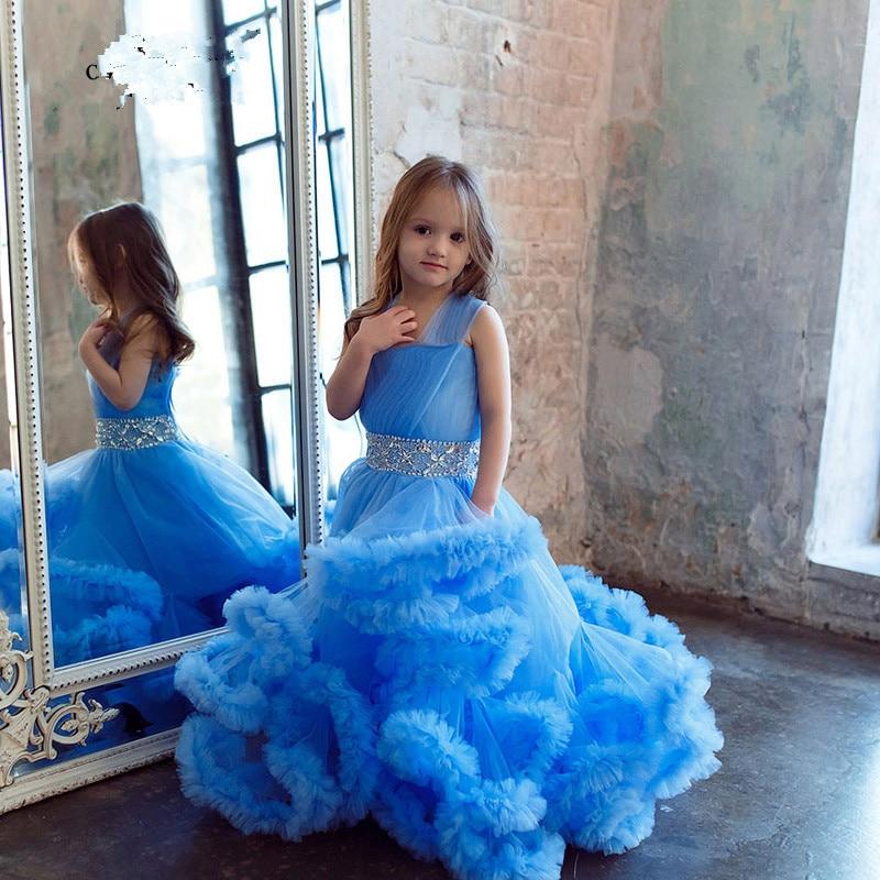 eb92f0131 Burgundy Cloud Little Flower Girls Dresses Blue Kids Evening Gowns ...