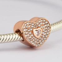 Pandulaso Rose D'or Coeur Perles Fit Femmes DIY Charmes D'argent Bracelets Logo Clair CZ Cristal Perles pour Fabrication de Bijoux En Gros