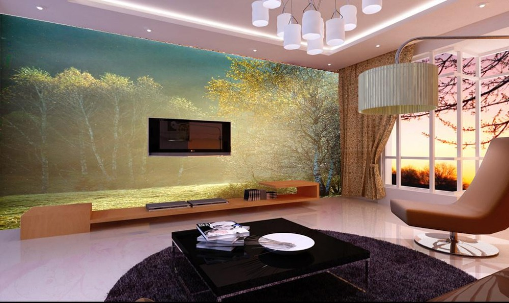 Custom 3d Murals Wallpaper Landscape Modern Minimalist Living Room TV Backdrop Trees Wall In Wallpapers From Home Improvement On Aliexpress