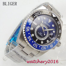 цена New 43mm Bliger Blue dial gmt Luminous Hands Date Sapphire Crystal Deployment band Automatic movement Mechanical Mens Wristwatch онлайн в 2017 году