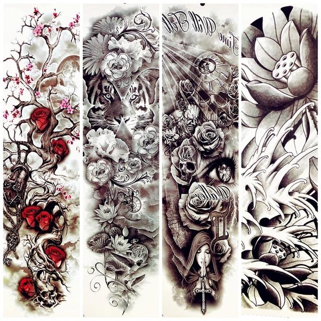 Chaude Femmes Fletri Arbre Tatouage Temporaire Bras Plein Fleur