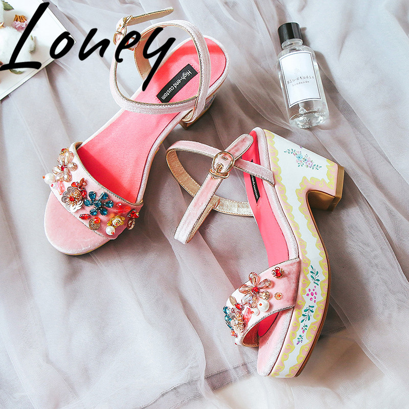 Loney New Spring Summer Pink Black Crystal Jewel Women Sandals Sexy Open Toe Buckle Strap Platform Women Sandals Shoes WomenLoney New Spring Summer Pink Black Crystal Jewel Women Sandals Sexy Open Toe Buckle Strap Platform Women Sandals Shoes Women