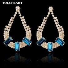 Женские винтажные серьги капельки с кристаллами золотого цвета
