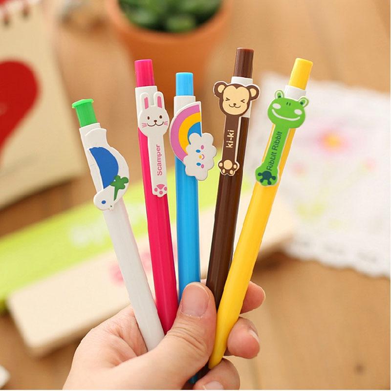 4pcs Cute Kawaii Animal Ballpoint Cartoon Rainbow Ballpoint Pen Children Student Gifts Stationery School Office Supplies