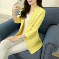 2016 New Spring Women Suit jacket Color Yellow Seven Sleeve Casual Slim Suit Blazer feminino Ladies Blazers Hot sale Veste femme