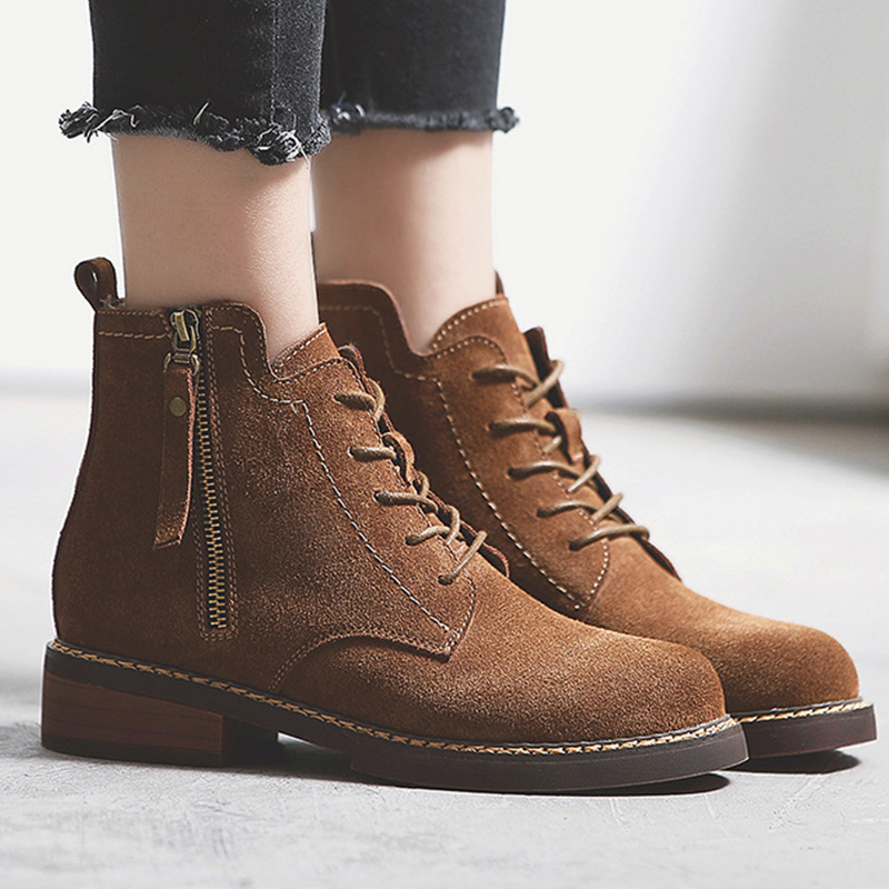 Martin boots lace-up height creasing women boots round toe solid superstar casual shoes genuine leather ankle boots size 35-40 women led light shoes casual shoes led luminous boots unisex genuine leather ankle boots women usb charging martin boots 35 46