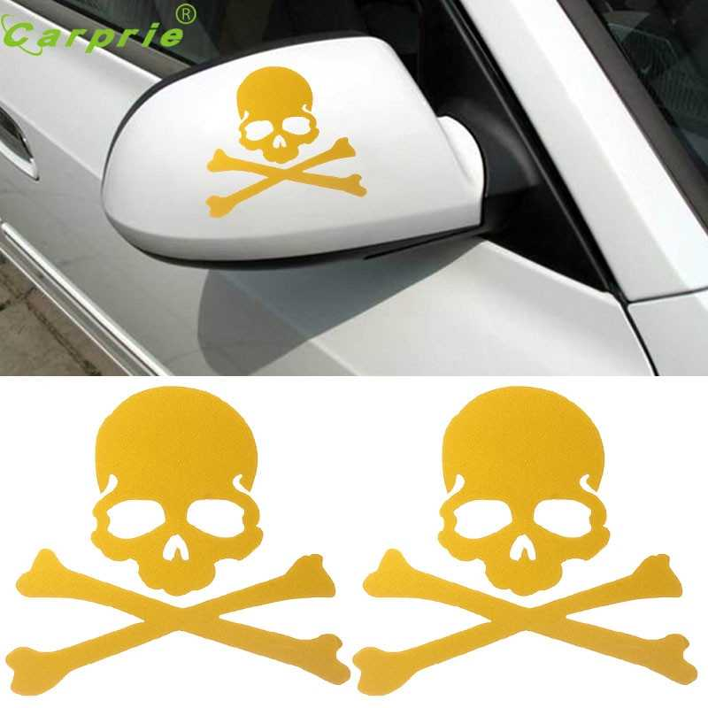 Drop shiping 2017 Fashion Skull Design 3D Decoration Sticker For Car Side Mirror Rearview Car Sticker for Car Truck W50