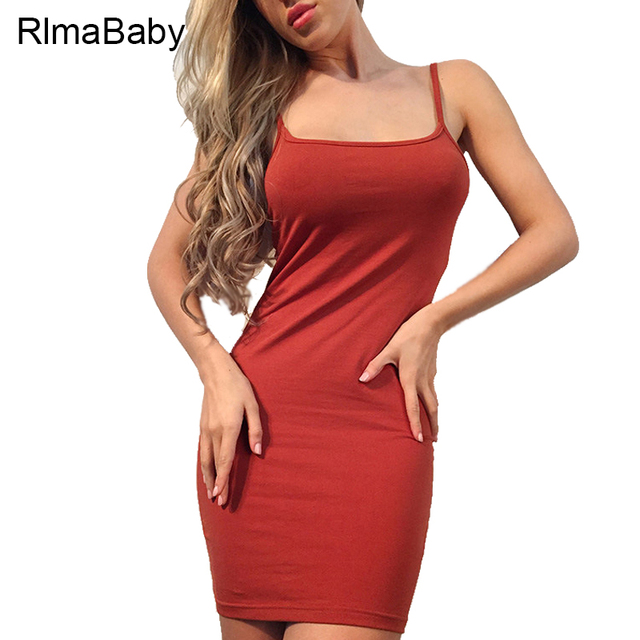 RlmaBaby 2017 Summer Sexy Spaghetti Strap Bodycon Mini Dress Slim  Sleeveless Backless Women Vestidos Casual Party f1663f263341