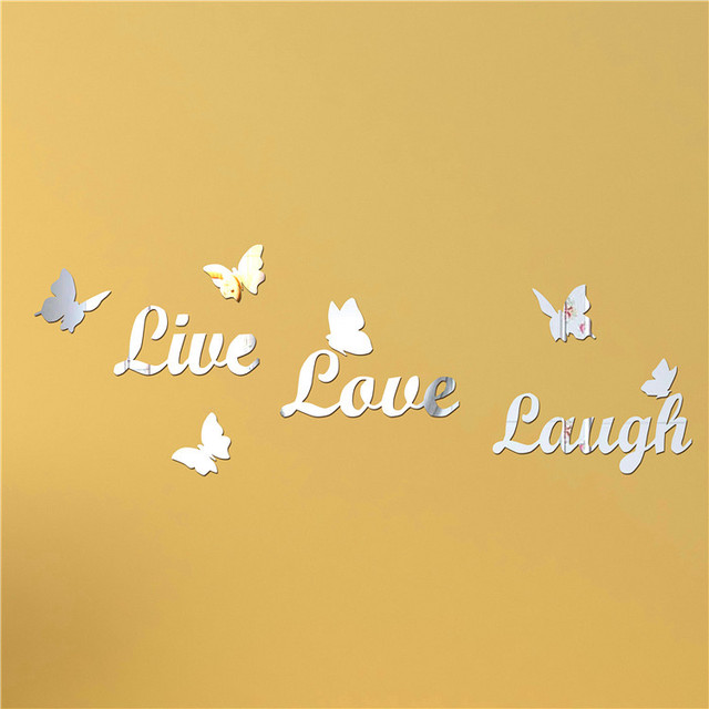 Live Love Laugh\' Letter Mirrors,3d Butterfly Wall Decor,Mirror Wall ...