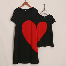 0486253bb PopReal Mother Daughter Dresses Big Red Heart Pattern Pullover Family  Matching Clothes T Shirt Girls Dress Mommy And Me Clothes