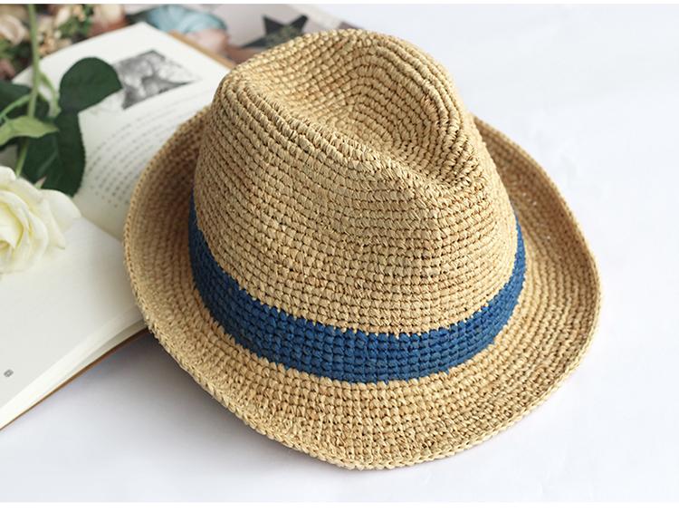 Mode Frauen Bast Stroh Hut Häkeln Sommer Breite Krempe Hut Damen