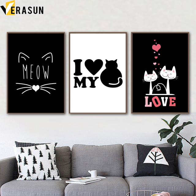 Black White Cat Love Quotes Nordic Posters And Prints Wall Art