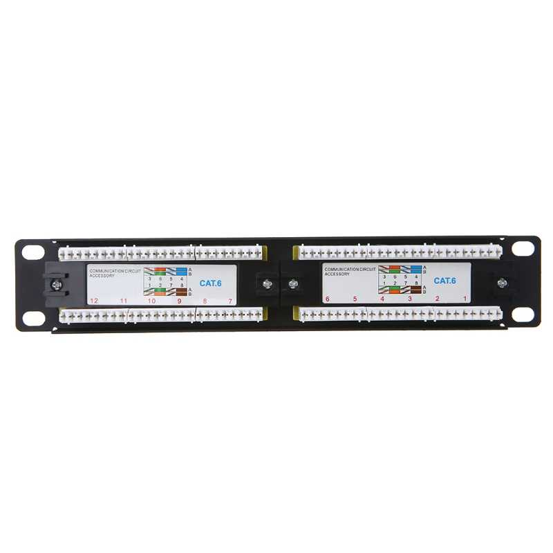 New Cat6/Cat5e 12 Port RJ45 Patch Panel UTP LAN Network Adapter Cable Connector hot