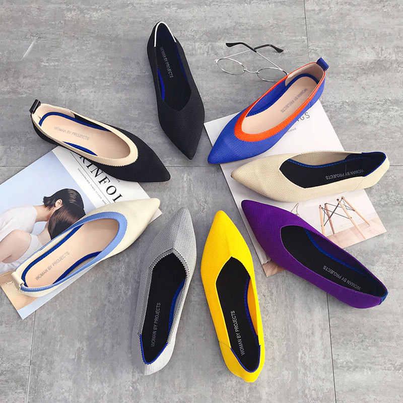 Женская обувь на плоской подошве Трикотажные смешанный цветные мокасины; дышащая удобная рабочая обувь Лоферы короткие модные женские туфли-лодочки без застежки женские Туфли без каблуков дальнего света