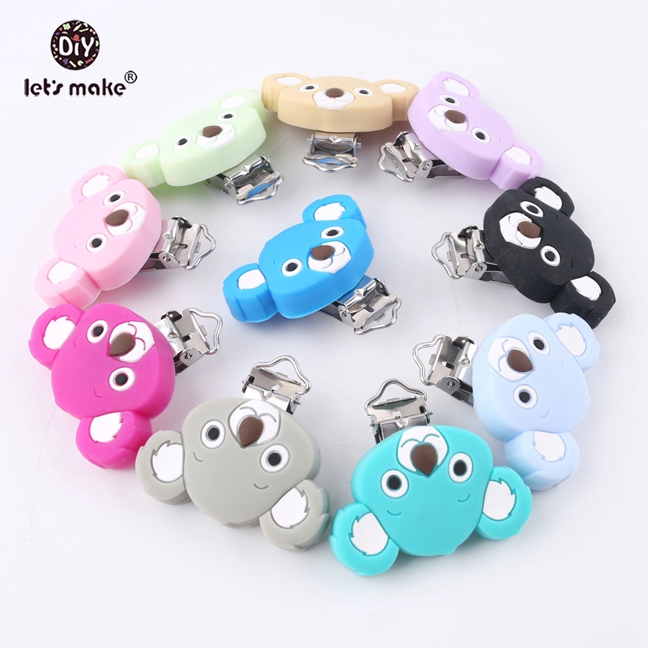 Let's Make 20pcs Pacifier Clip Of Cartoon Koala Silicone Teethers Nursing Soother Clips Chains Making BPA Free Baby Teethers