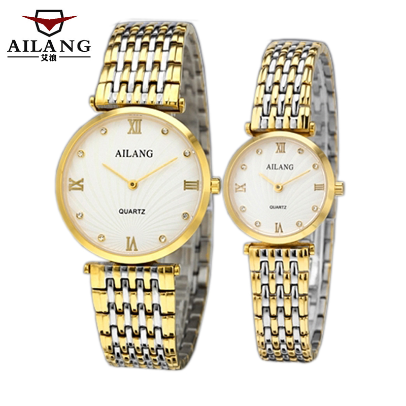 Valentine 'watch a couple of luxury fashion business men steel table quartz female waterproof watch diamond 197 quartz watch with diamond shaped mirror for couple