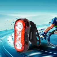 USB Charger 5 Modes Bicycle Bike Cycling Rear Tail Alarm Safty Light LED Aluminium Alloy Waterproof