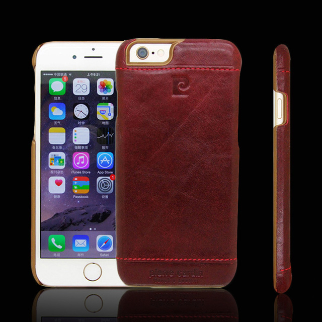Pierre Cardin Genuine Leather Hard Back Case Skin Cover For iPhone 6 4.7