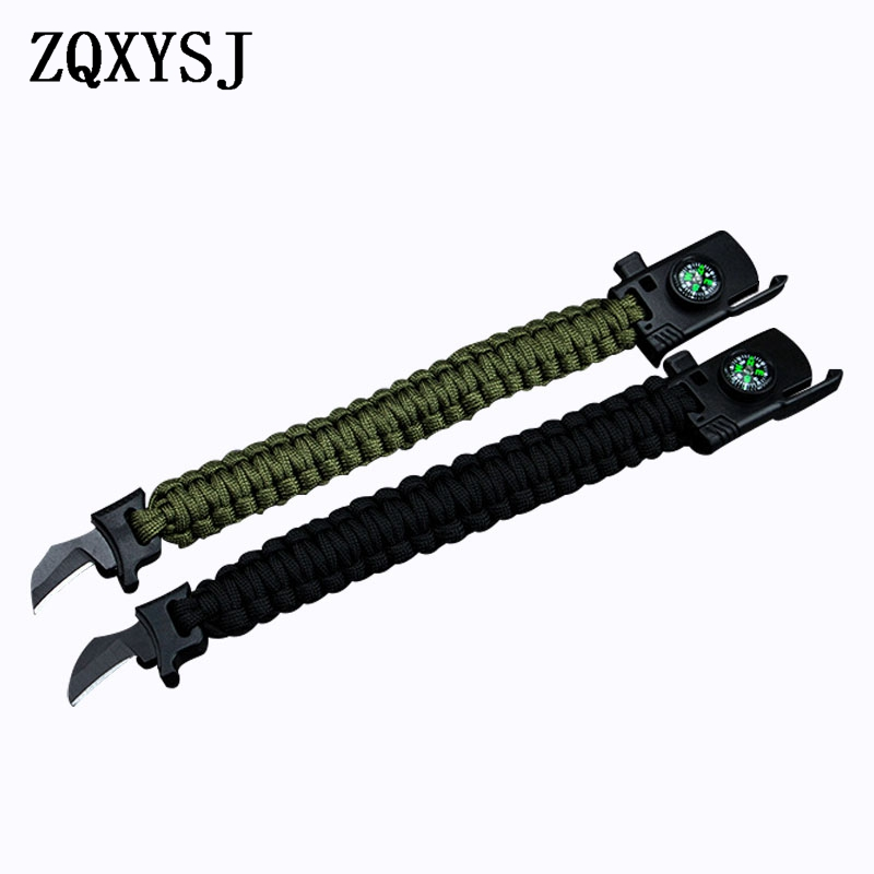 Outdoor Umbrella Bracelet Knife Multi Camping Emergency Survival Tools Men Women Braided Adventures Rescue Rope Bangles Compass in Knives from Tools