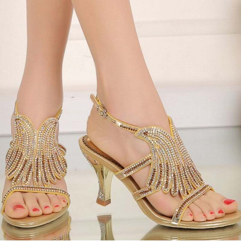plus size 34-44 women fashion mandarin duck rhinestone high heels sandals sexy open toe ladies summer prom dress shoes sandalias endearing plus size mandarin collar lace spliced hollow out dress for women