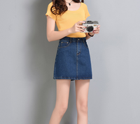 2017 Fashion Summer Cotton Denim Skirts For Women Classic Woman Casual Blue Shorts Jeans Skirts Grils