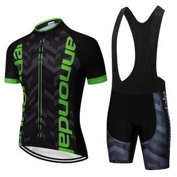Conjunto de roupa de ciclismo masculina, camiseta e bermuda de bicicleta de secagem rápida, verão, calção de equipe com passo rápido, calção de ciclismo em gel, 2019 1