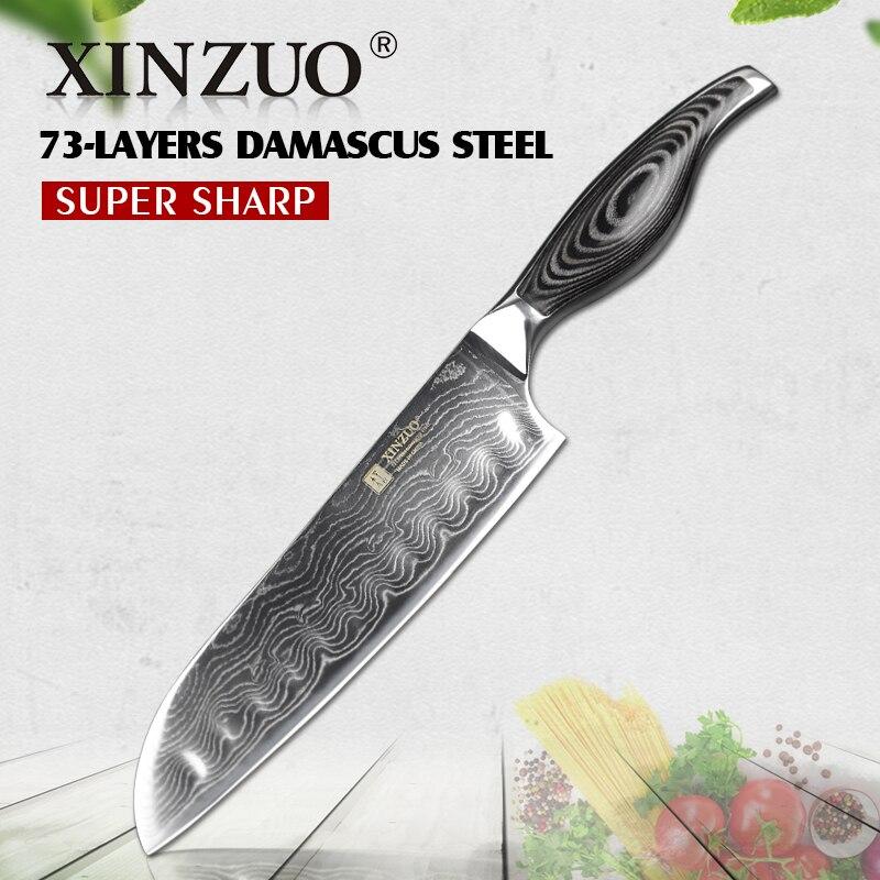 "XINZUO 7"" inch Santoku Knife Damascus Steel Kitchen Knife Butcher Tools Japanese Chef Knife Japan VG10 Knives Pakka Wood Handle"