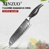 XINZUO 7 inch Santoku Knife Damascus Steel Kitchen Knife Butcher Tools Japanese Chef Knife Japan VG10 Knives Pakka Wood Handle