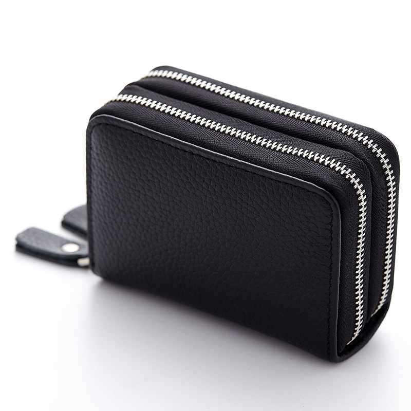 Fashion Wallet Women Genuine Cow Leather Men Ladies Purse Mini Credit Card ID Two Layer Key Coin Zipper Purse Money Package Bag thinkthendo ladies kids men women small coin purse credit card key ring wallet pouch purse case new 2 zipper leather mini bags