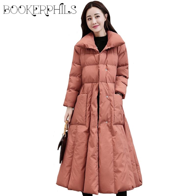 Fashion Autumn winter coat women Outwear Big Pocket 2018 Long Slim Thick Cotton A-Line Female Jacket Winter   Parkas   With Belt