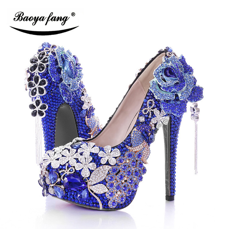 BaoYaFang Luxury Blue crystal Womens wedding shoes Bride high heels Platform shoes woman party dress shoes female high Pumps