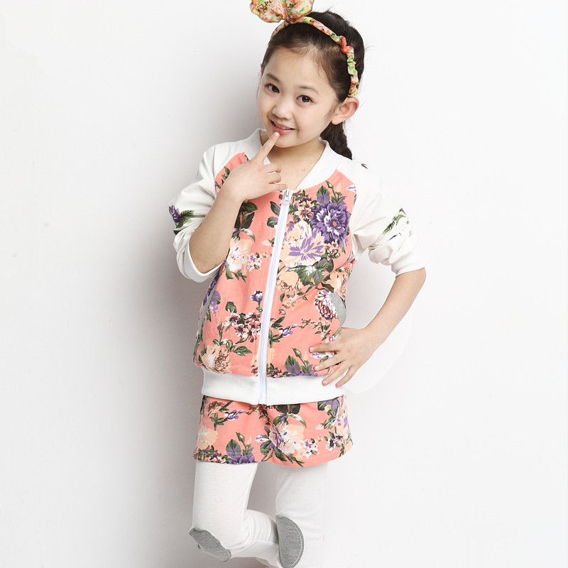 Free shipping children clothing spring/autumn girl 100% cotton flower pattern active set girl twinset suit free shipping children s clothing spring autumn girl leisure flower pattern girl suit long sleeve sweatshirt pants set