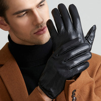 Men S Genuine Leather Sheepskin Driving Touch Screen Gloves Mesh Holes Breathable Full Finger Short Thin