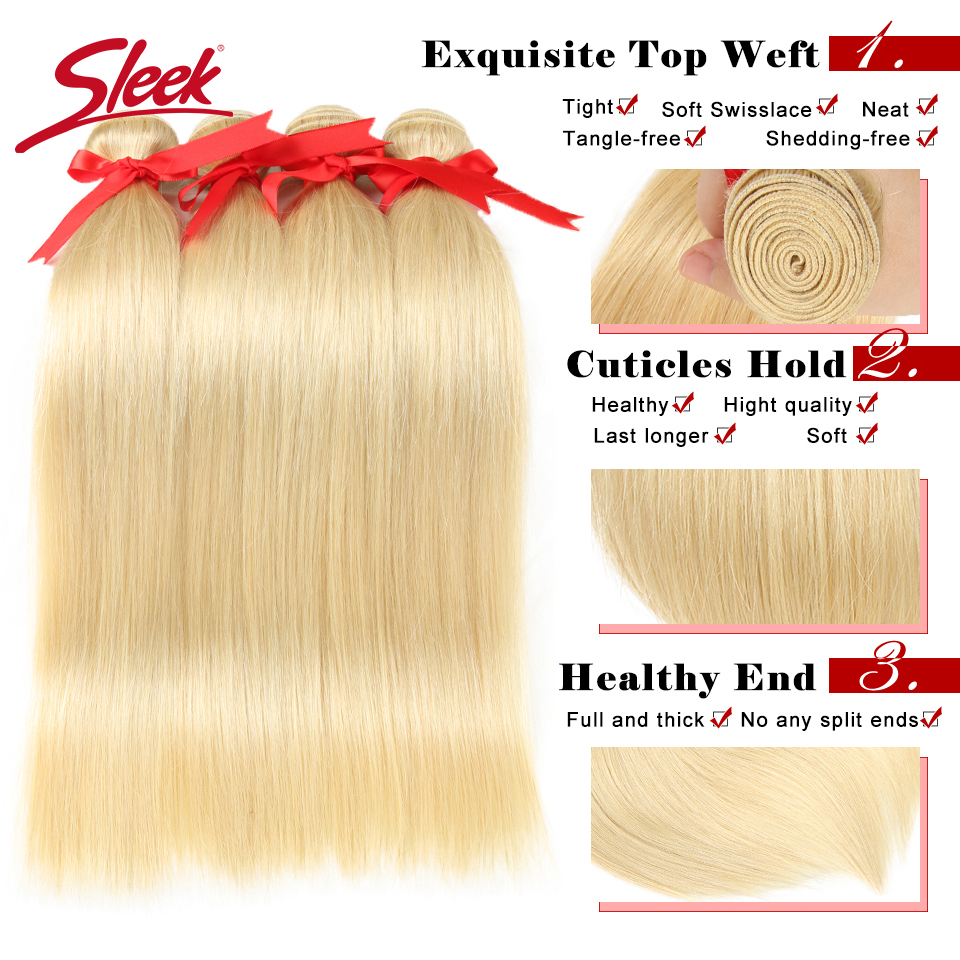 Image 3 - Sleek Colorful Hair Mink Blonde 613 Bundles With Lace Frontal Brazilian Body Wave2 3 4 Bundles With Frontal Remy Hair Extension-in 3/4 Bundles with Closure from Hair Extensions & Wigs