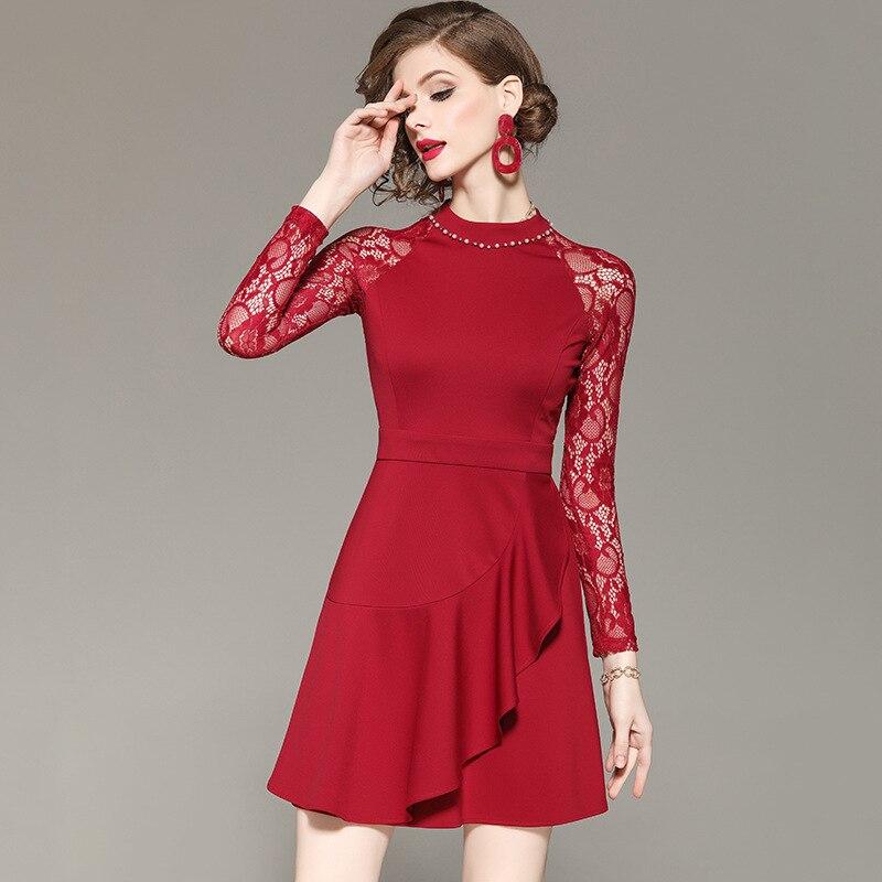 Perles Piste Designers Patchwork Mini Manches À Fête Femmes 2019 Mode Sexy Rouge Date Dentelle De Printemps Robe Longues qHtBPHx4