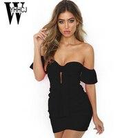 WYHHCJ 2018 Vestidos Sexy Women Summer Dress Off Shoulder Lace Up Draped Dress Women Bodycon Mini