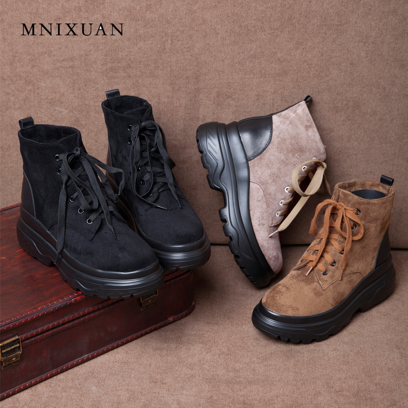 MNIXUAN women shoes winter ankle boots 2018 new round toe lace up platform high heels suede martin boots ladies short boot black new fashion black pu leather lace up martin boot woman round toe riding boots designer chain motorcycle short booty