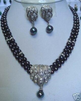 Красивая 7-8 мм подвеска в виде Черной жемчужины ожерелье серьги замечательная благородство хорошие Свадебные украшения счастливые женские