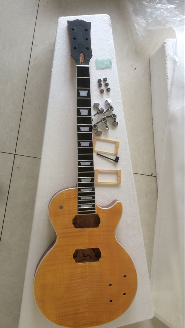 Wholesale unfinish Electric guitar with old truss rod , all hardware One piece neck maple top ebony fingerboard frets end 161020