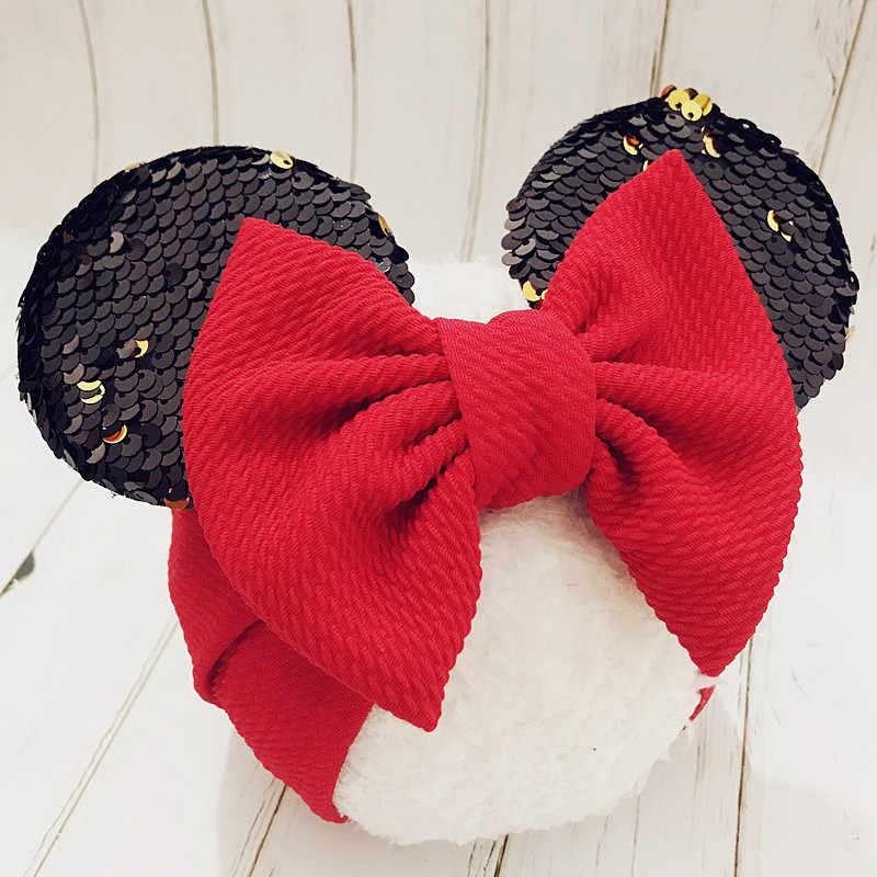 Новинка; детская лента для волос; ободок для волос с Микки-Маусом ободок с мышиными ушками повязки на голову, с блестками и повязка с бантом для новорожденных эластичный бантики, аксессуары для волос