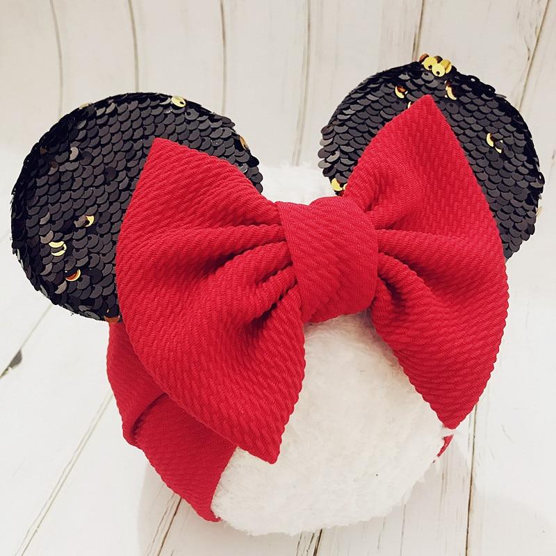 New Baby Headbands Mickey Mouse Ears Headband Hairbands Sequin Bowknot   Headwear   for Newborn Elastic Bows Hair Accessories