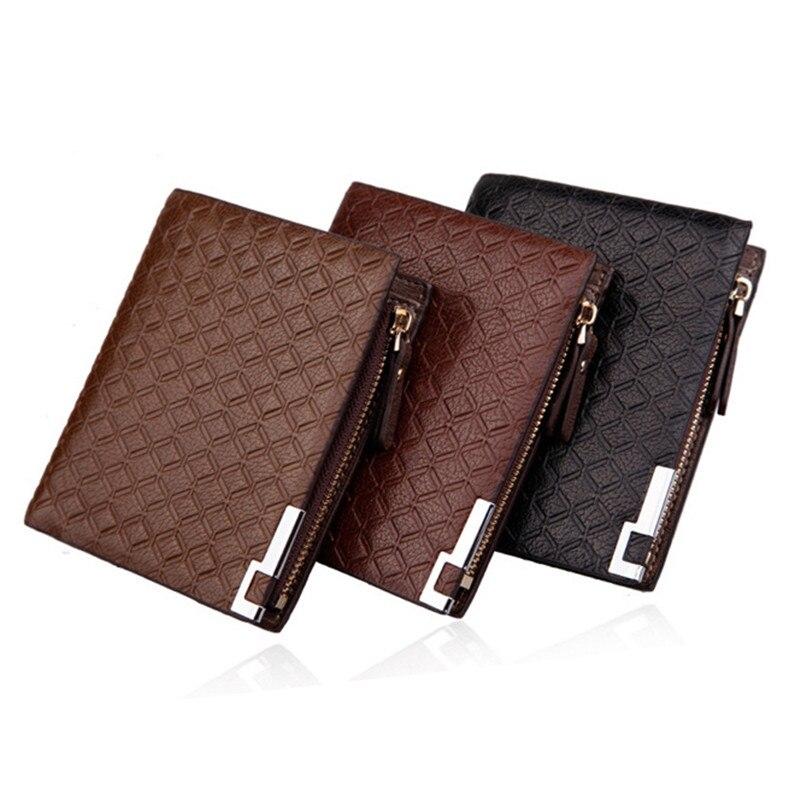 77b7772db الموضة الجديدة الرجال محافظ تصميم سستة مربع منقوشة نمط 3 لون جودة براءات  جلدية حامل بطاقة محفظة محفظة #04