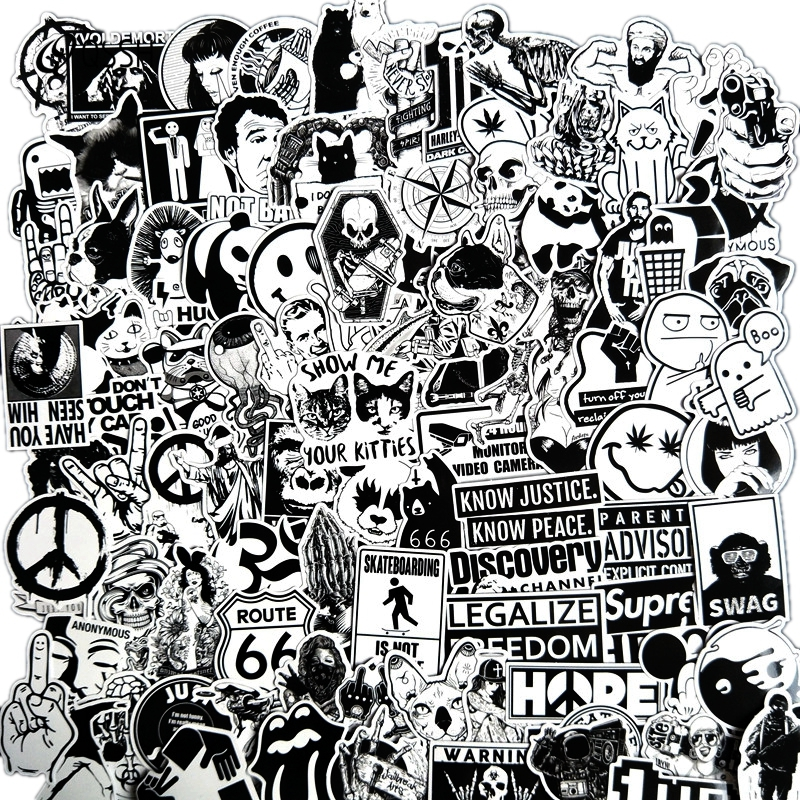 100 PCS Black And White Cool DIY Stickers For Skateboard Laptop Luggage Snowboard Fridge Phone Toy Styling Home Decor Stickers