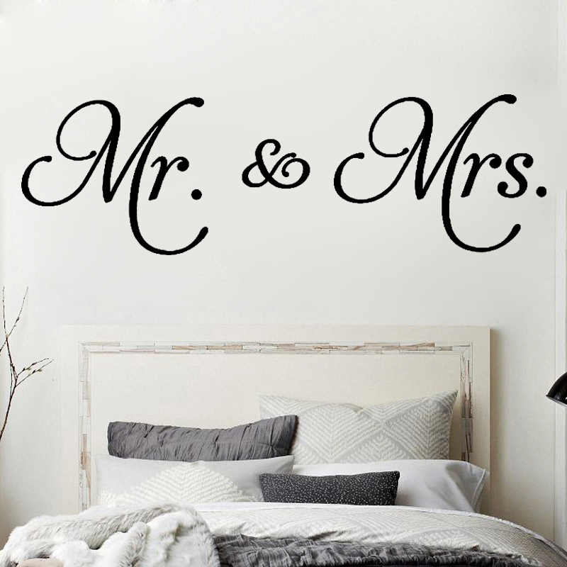 D542 Mr. & Mrs. Quotes vinyl wall decal living room decoration removable modern Minimalism wall sticker for bedroom Home Decor