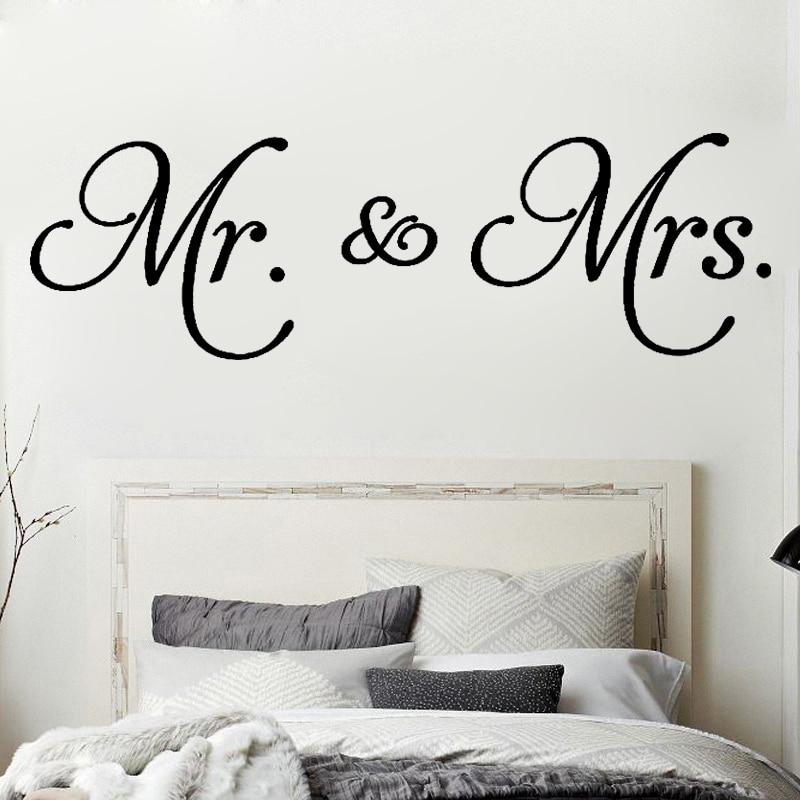 US $7.64 15% OFF|D542 Mr. & Mrs. Zitate vinyl wandtattoo wohnzimmer  dekoration abnehmbare moderne Minimalismus wandaufkleber für schlafzimmer  ...