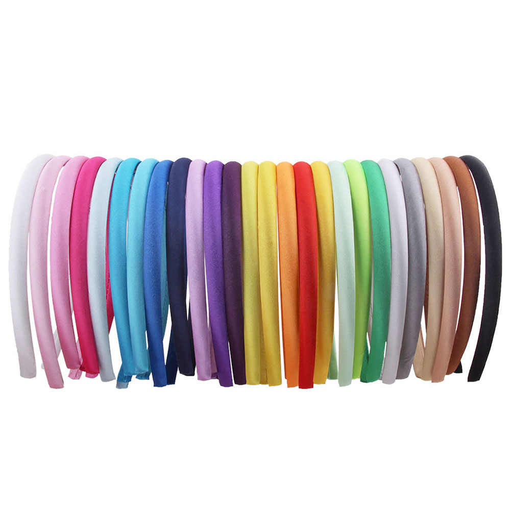 10mm Candy Satin Covered Resin Hairbands for Women Girls Kids Elastic Solid Satin Hair Bands DIY Headband Hair Hoop